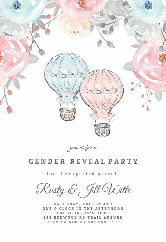 Air Balloons Flowers Gender Reveal Invitation Template Greetings Island Gender Reveal Invitations Gender Reveal Invitations Template Gender Reveal Invitations Printable