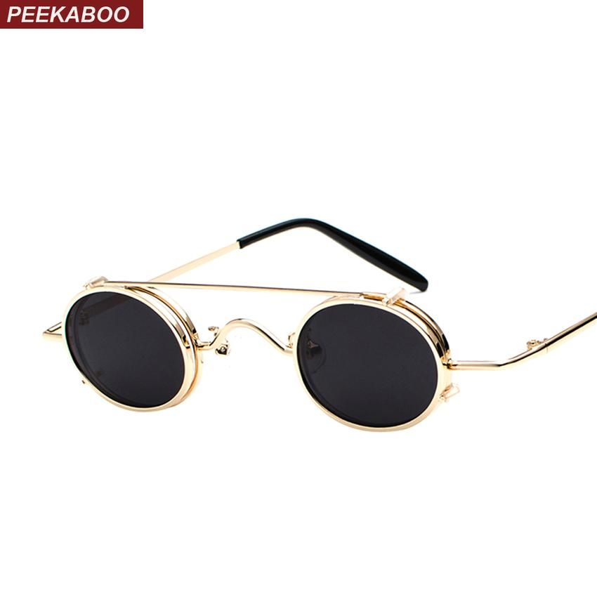 4c9f1cf54a Peekaboo small oval sunglasses women retro vintage 2018 metal frame silver  gold black punk clip on