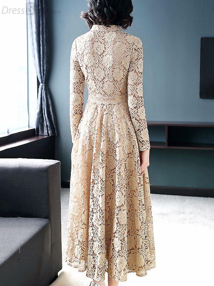 Fashion V-Neck Lace Pire Color Maxi Dress