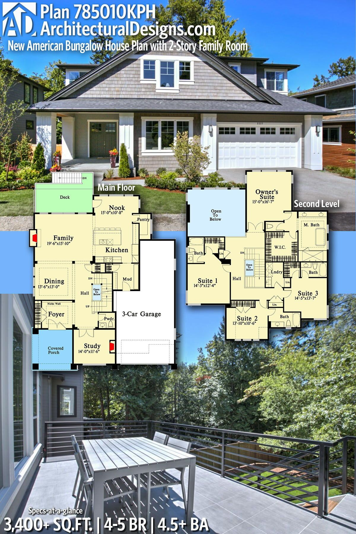Plan 785010kph New American Bungalow House Plan With 2 Story Family Room Bungalow House Plans House Plans Bungalow Style House Plans