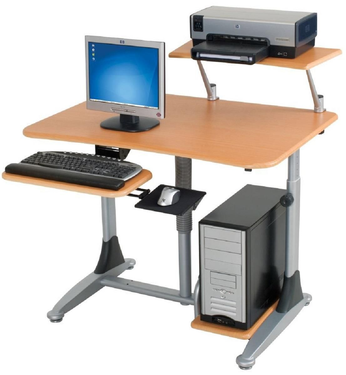 Height Adjustable Desk With Pneumatic Lever Keyboard Shelf