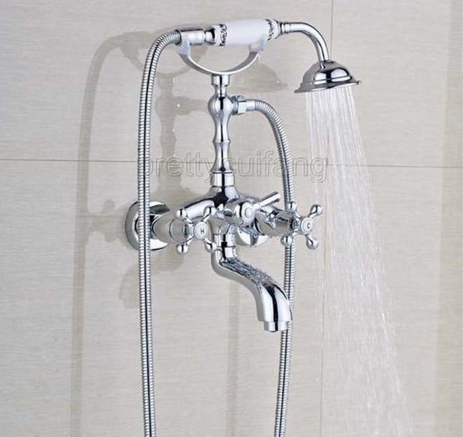 Chrome Bathroom Wall Mounted Clawfoot Tub Filler Faucet With Hand