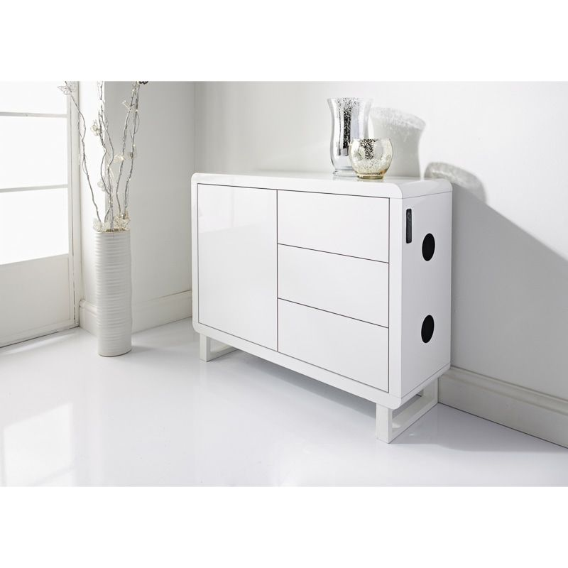 A Contemporary White High Gloss Sideboard Featuring Sleek Curved Edges Features Built In Bluetooth Connectivity White Decor White Interior Living Room Designs