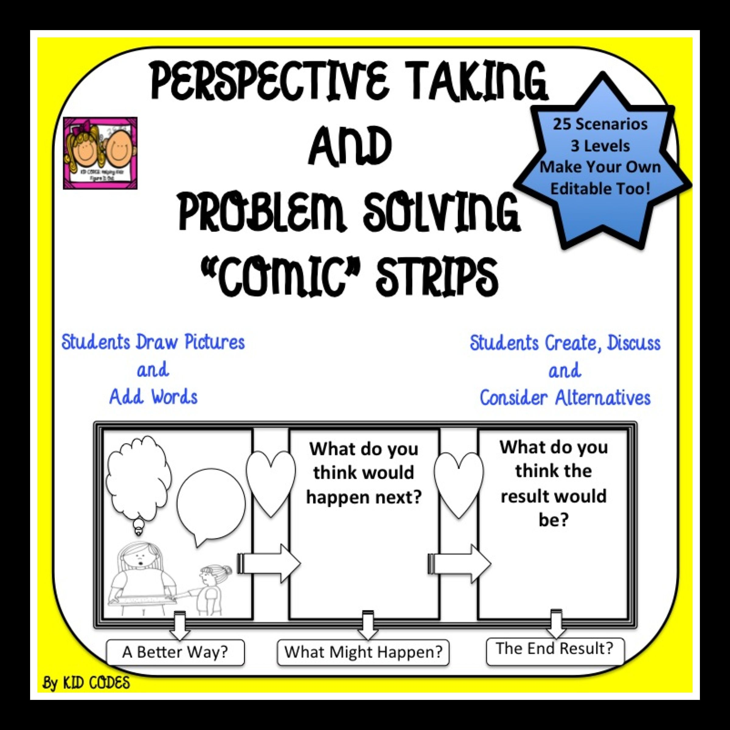 Perspective Taking And Problem Solving Comic Strip Style Bw For 3rd 5th Grade