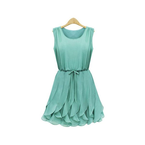Pleated Solid Color Scoop Neck Sleeveless Refreshing Style Chiffon... ($22) ❤ liked on Polyvore featuring dresses, green, green dress, scoop neckline dress, chiffon dress, scoop neck chiffon dress and pleated chiffon dress