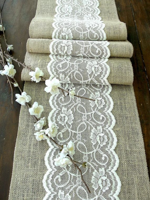Table Runner With Ivory Lace, Rustic Chic , Romantic Or Vintage Wedding ,  Handmade,