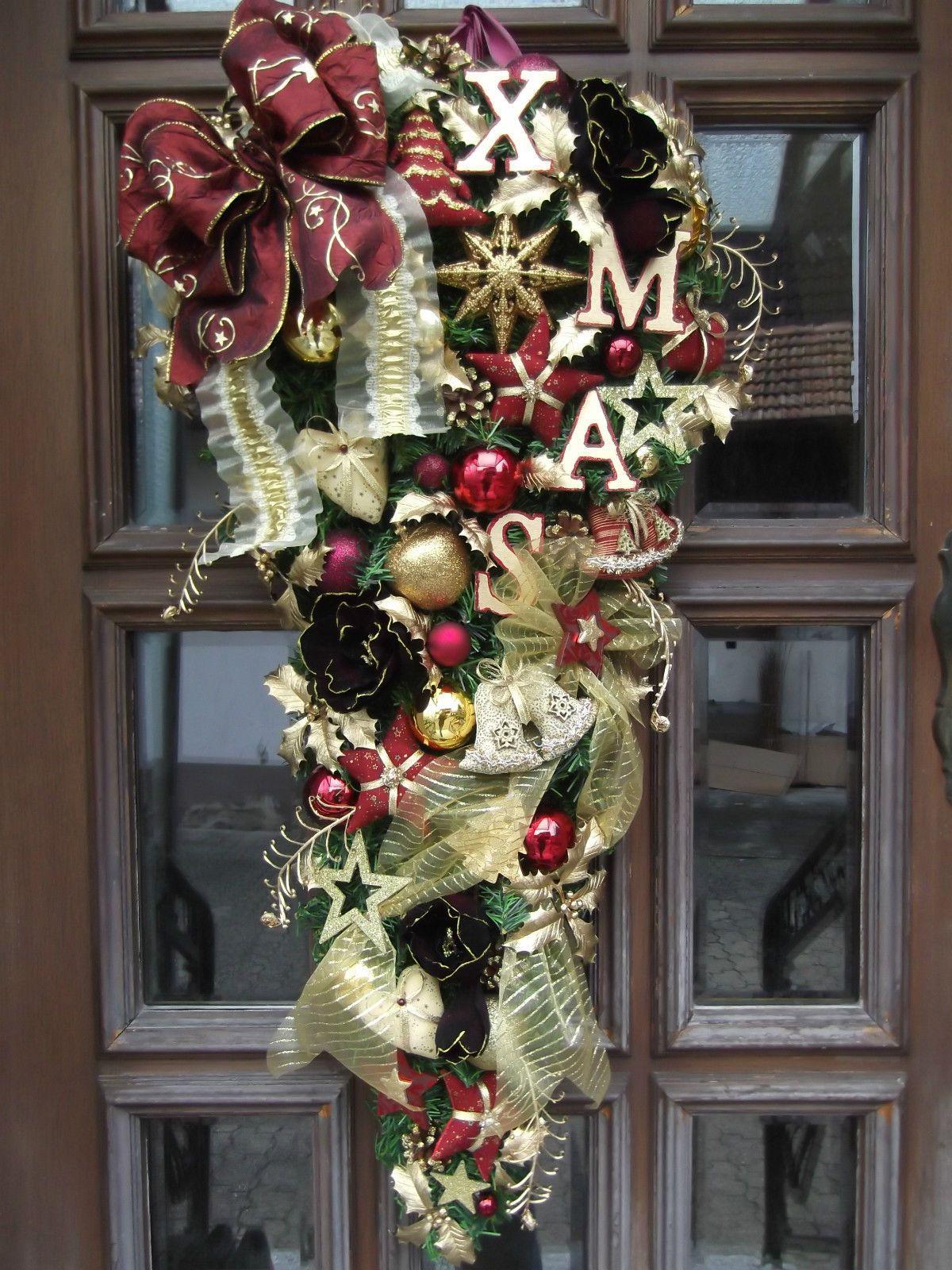 Türkranz Weihnachten.Türkranz Weihnachten Türzopf Weihnachtskranz Tilda Bordeaux Gold