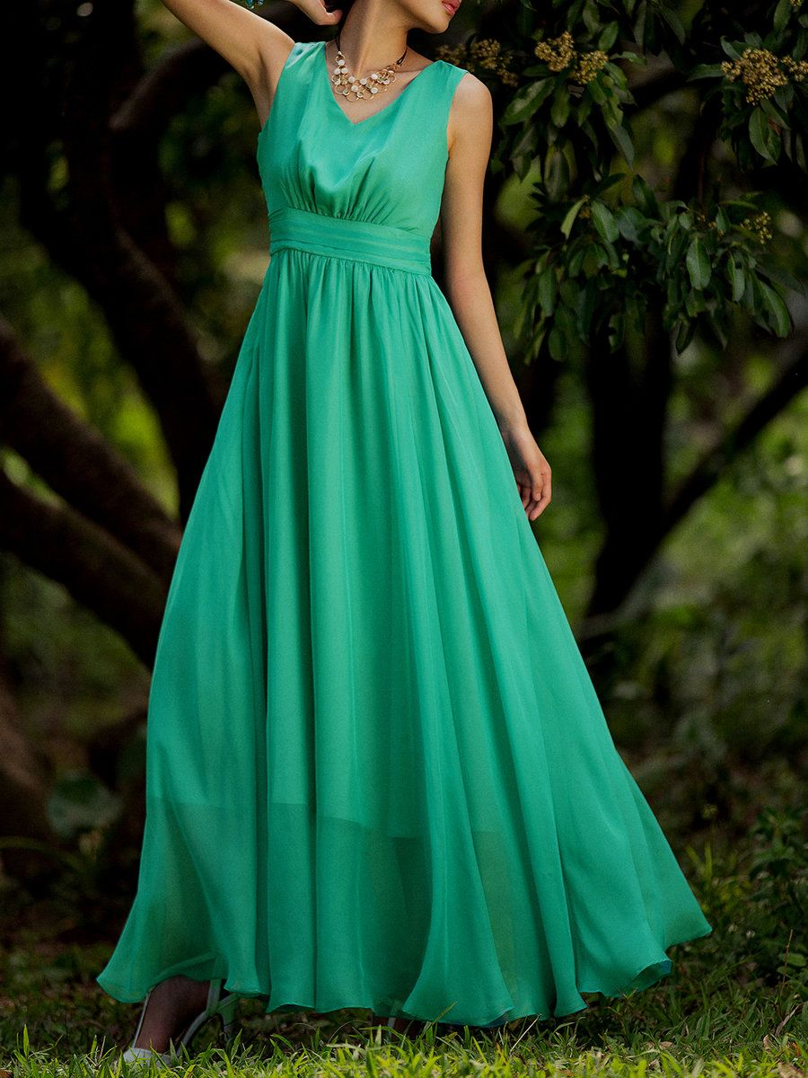 AdoreWe StyleWe Maxi Dresses - HZY Green A-line V Neck Chiffon ...