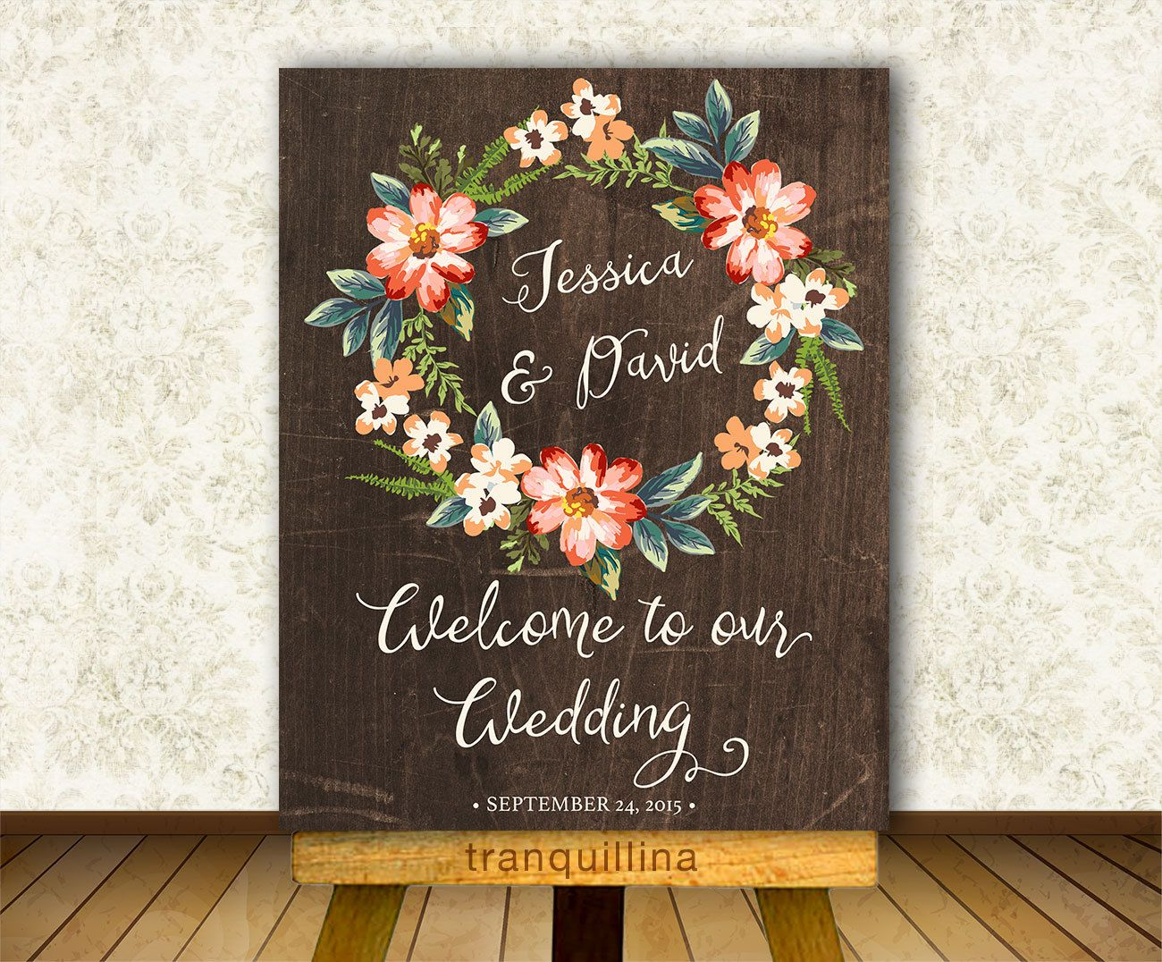 Wedding Welcome Sign Printable Digital File Personalized Rustic Poster Bridal Shower