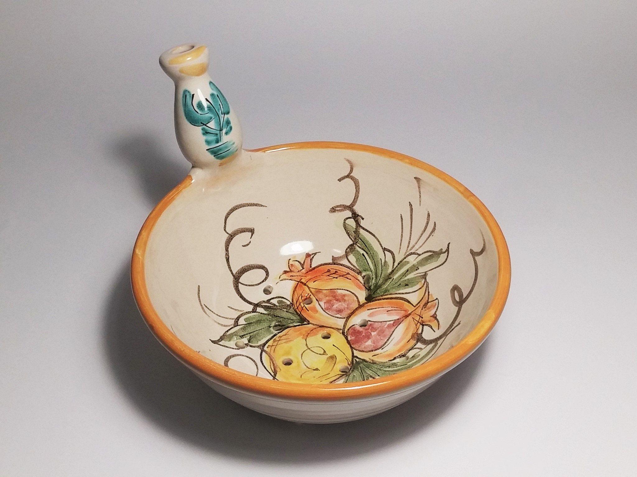 PIATTO DA PORTATA ovale grande in Ceramica decorato artigianale vassoio vintage