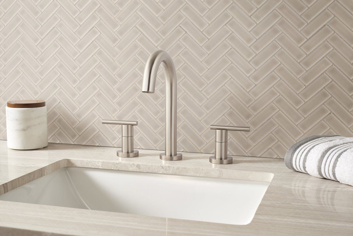 Portico Herringbone 1 X 3 Ceramic Mosaic Tile In Pearl Beige In 2020 Ceramic Mosaic Tile Beige Backsplash Herringbone Mosaic Tile