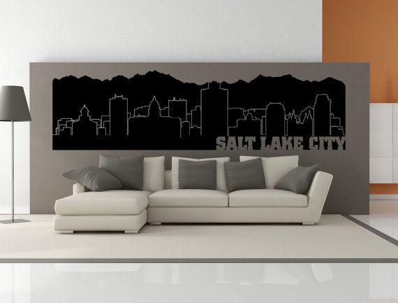 PREMIUM Salt Lake City Utah City Skyline Interior Wall Decal WITH - Custom vinyl decals utah