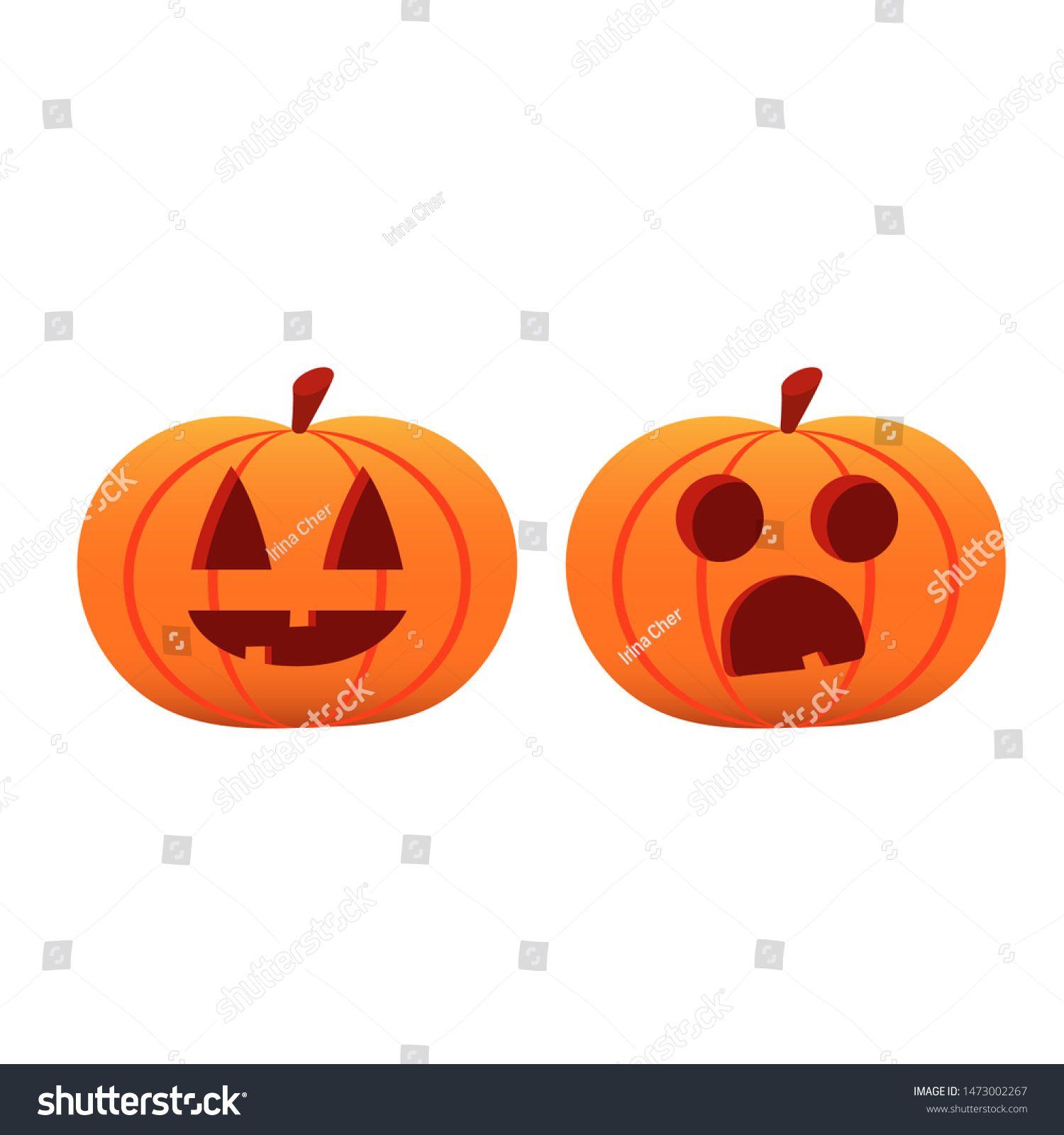Orange Symbol On Halloween 2020 Set pumpkin on white background. The main symbol of the Halloween