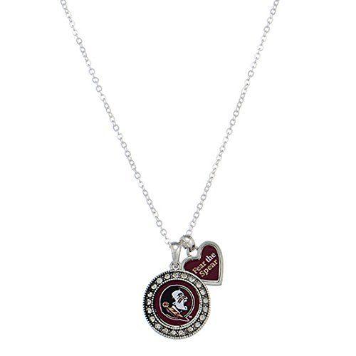 New Florida State University FSU Bling Heart Shaped Necklace