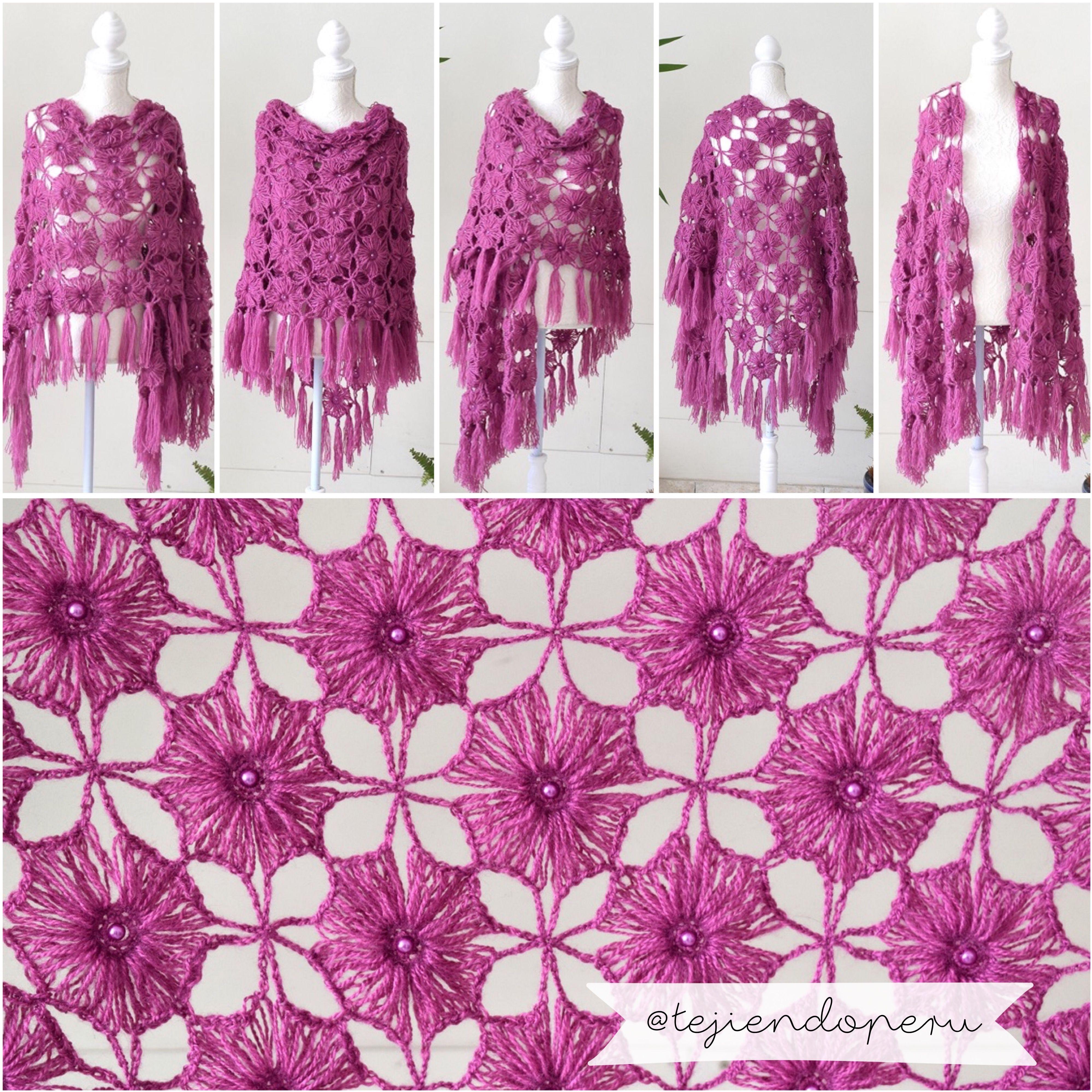 Chal con grannies tejido a crochet: muchas formas de usarlo! Video ...