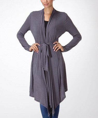 Look what I found on #zulily! Charcoal Tie-Waist Duster by Bellino #zulilyfinds