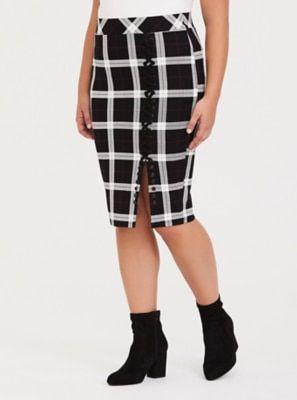 60d46798a6a0b Black   White Plaid Lattice Ponte Skirt in Black