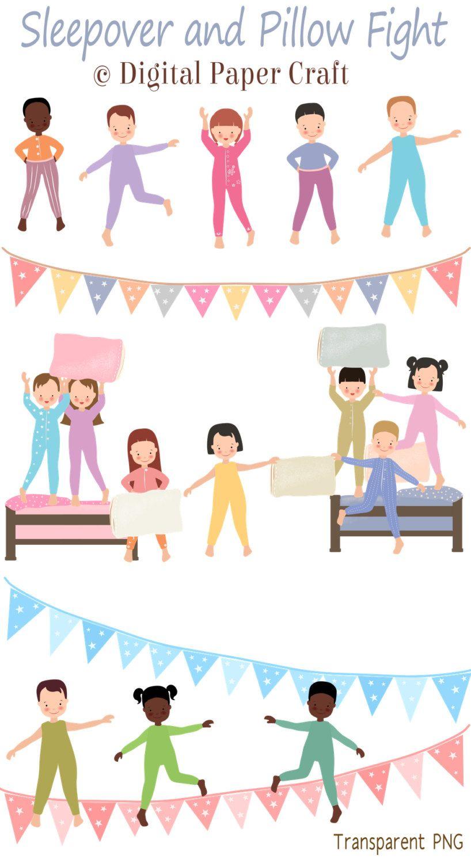Kids Clipart, Pyjama Clipart, Sleepover Clipart, Pillow Fight ...