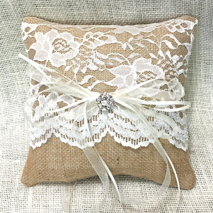 Burlap And Lace Ring Bearer Pillow: Wedding Burlap And Lace Ring Pillow At Websimilar.org