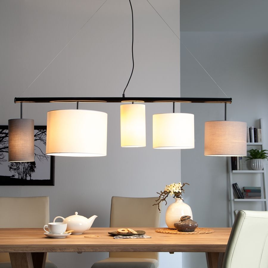 Pendelleuchte Kamia - Stoff/Metall - 5-flammig | Küche | Pinterest ...
