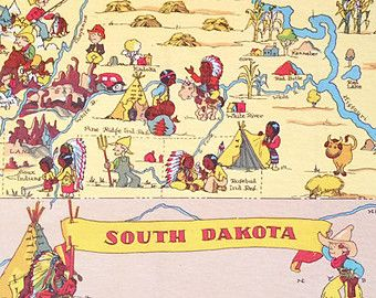 1930s South Dakota Cartoon Map The Mount Rushmore State
