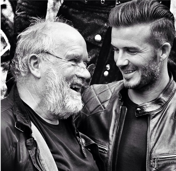 Just irresistible. #DavidBeckham and #PeterLindbergh were all smiles at the #Belstaff store on Tuesday.