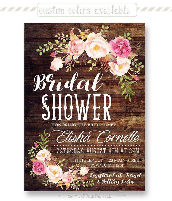 13d2f0b5c2cc Rustic Floral Bridal Shower Invitation