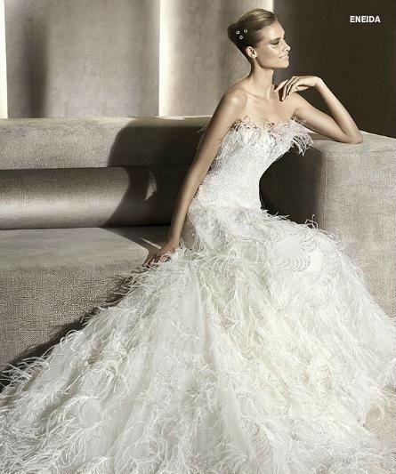 ostrich feather wedding dress - Google Search