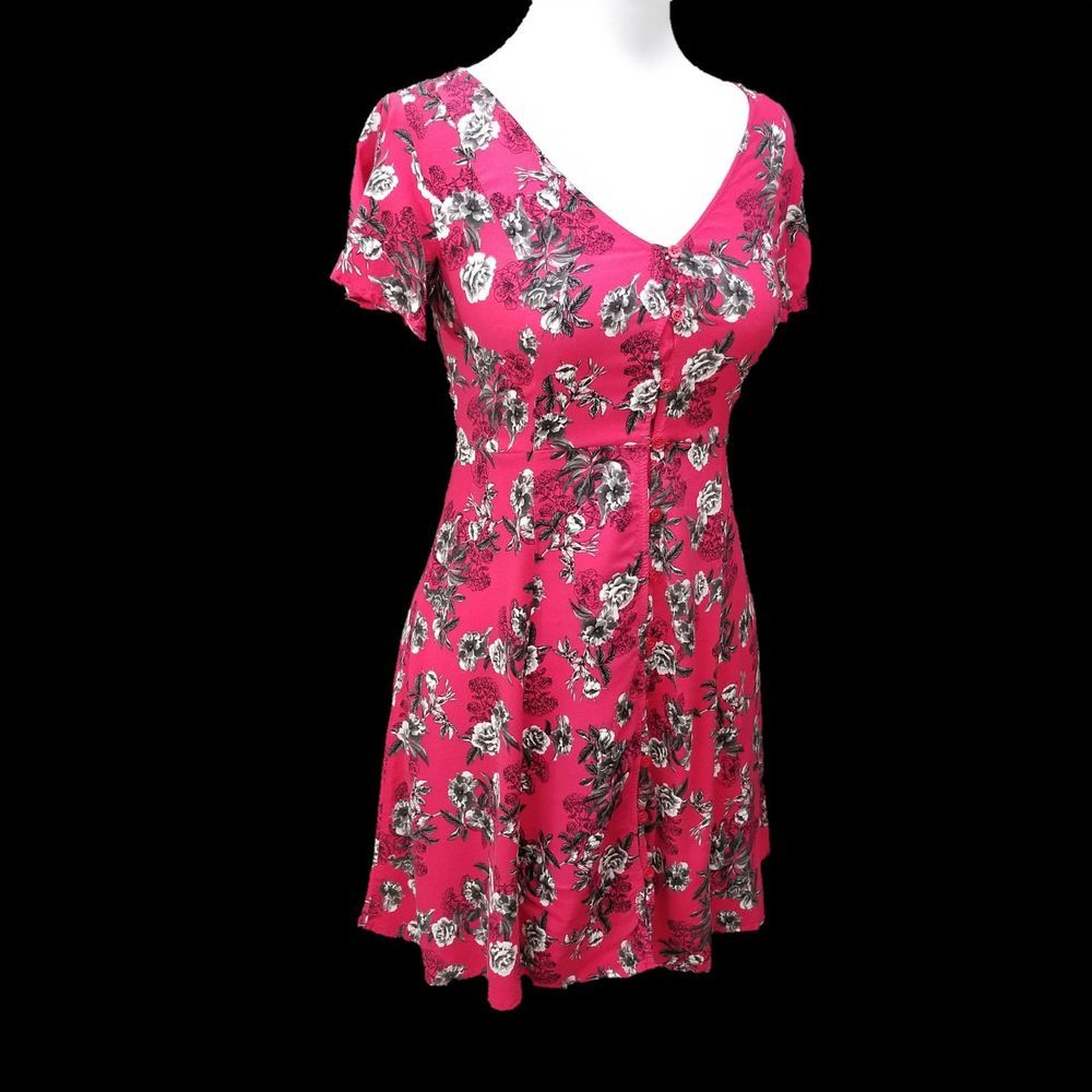 899677867b7 Torrid Magenta Pink Button Front Challis Floral Dress Womens 00 Size 10   Torrid  Casual