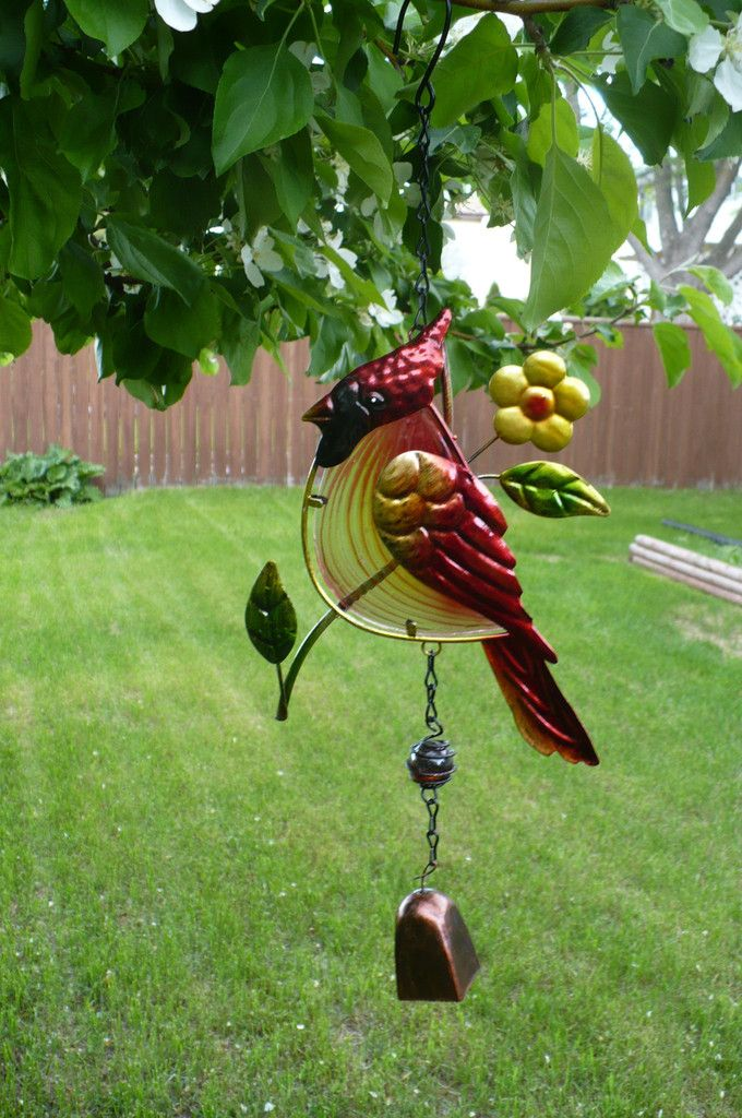 Red Cardinal Metal and Fusion Glass Bell Wind Chime