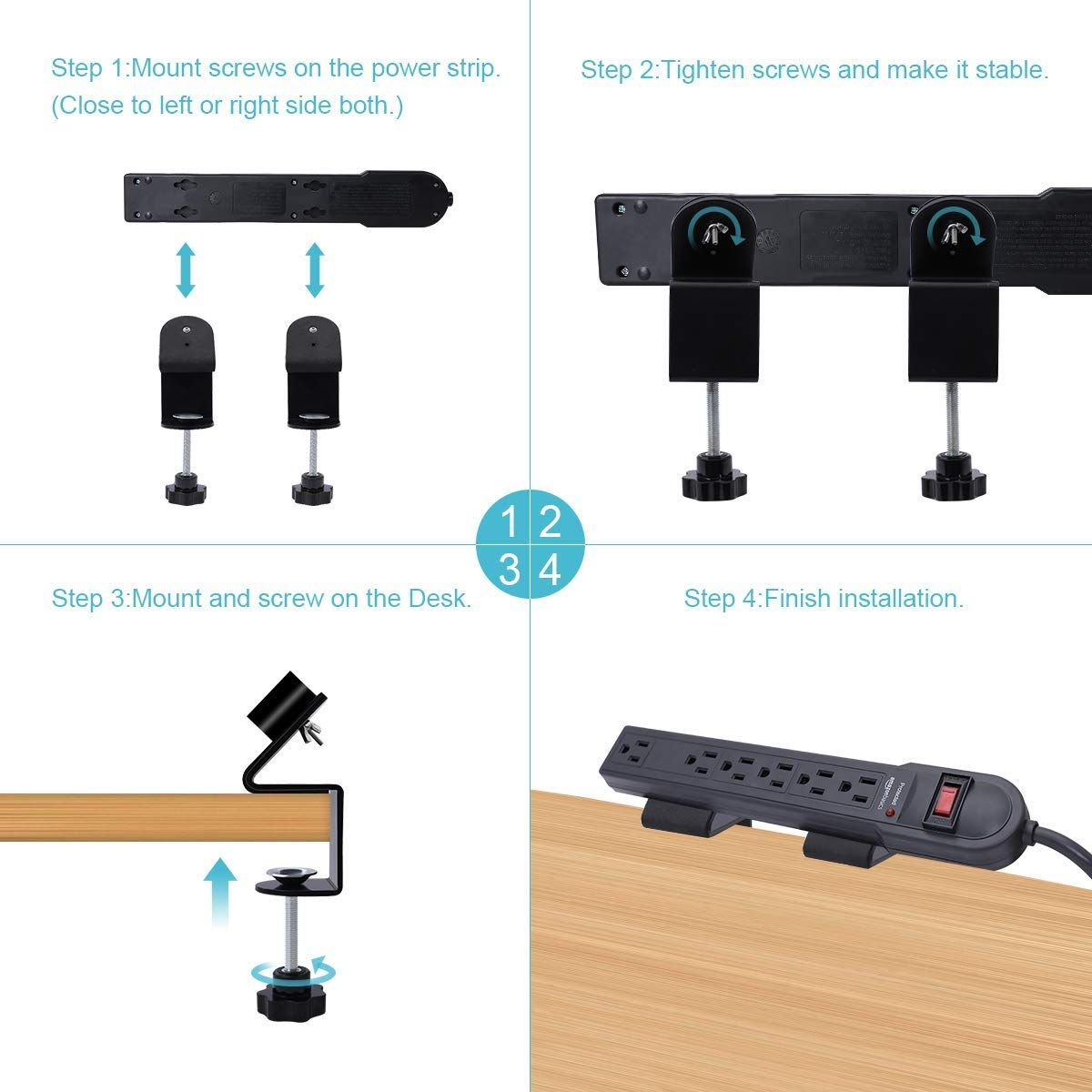 Easy To Install And Save Your Space Lanmu Power Strip Desk Mount
