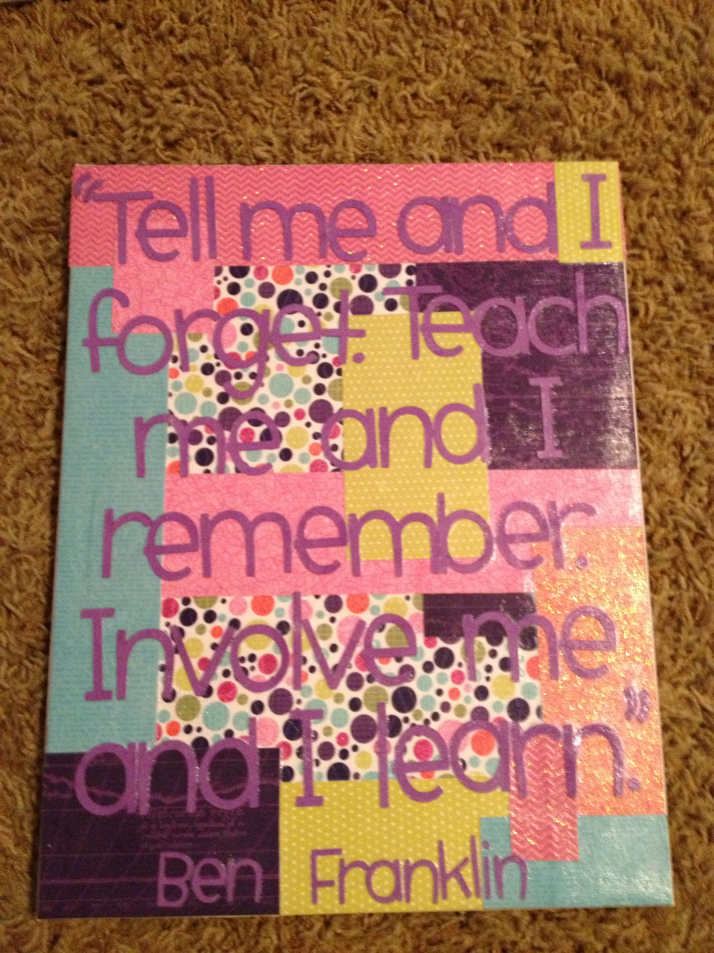 Diy canvas art i used scrapbook paper and mod podge easy