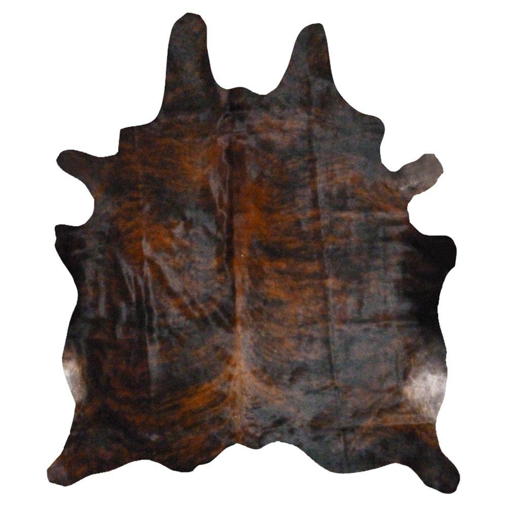 Real Cowhide Rug Dark Brindle (Natural), Ivory Cow hide