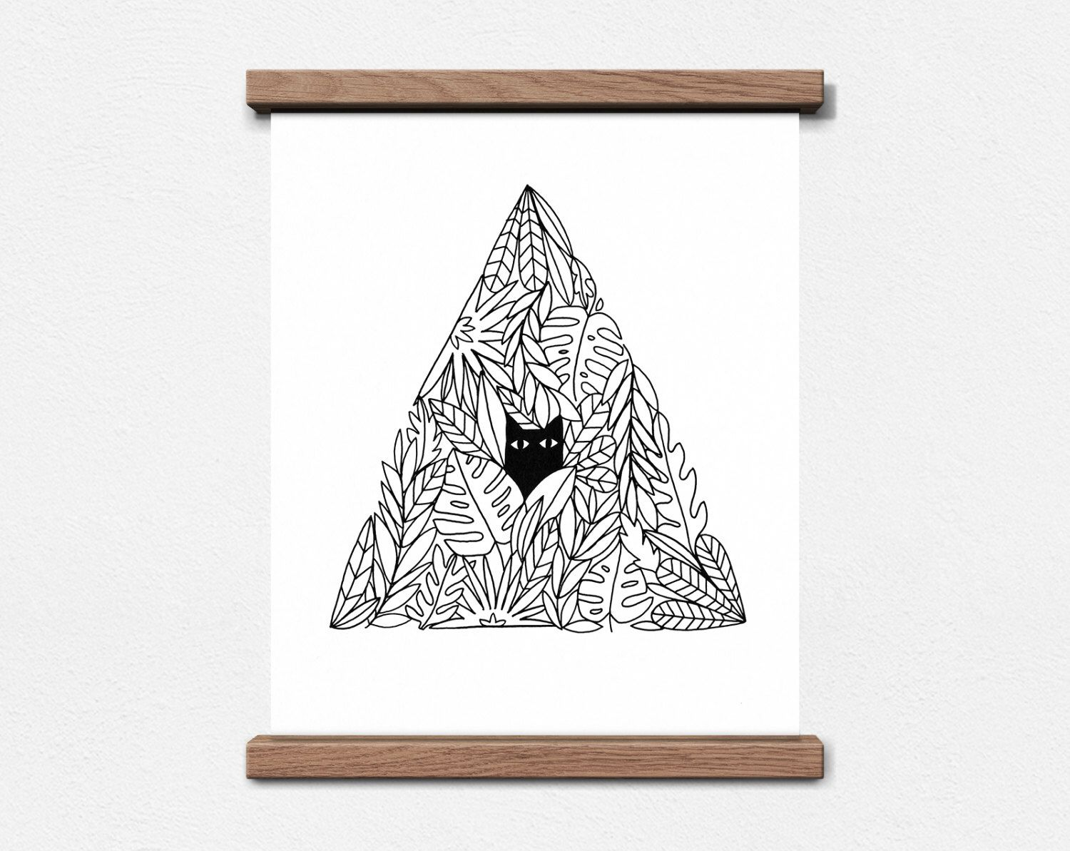 Cat In A Plant Pyramid 8 X 10 Screen Print By Worthwhilepaper On  # Muebles Zb Zaragoza