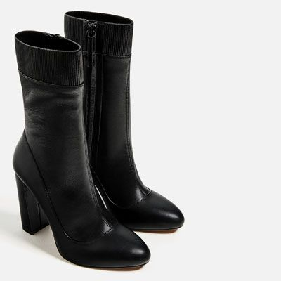 Image 7 Of High Heel Stretch Leather Ankle Boots From Zara Leather Ankle Boots Sock Ankle Boots Heel Stretch