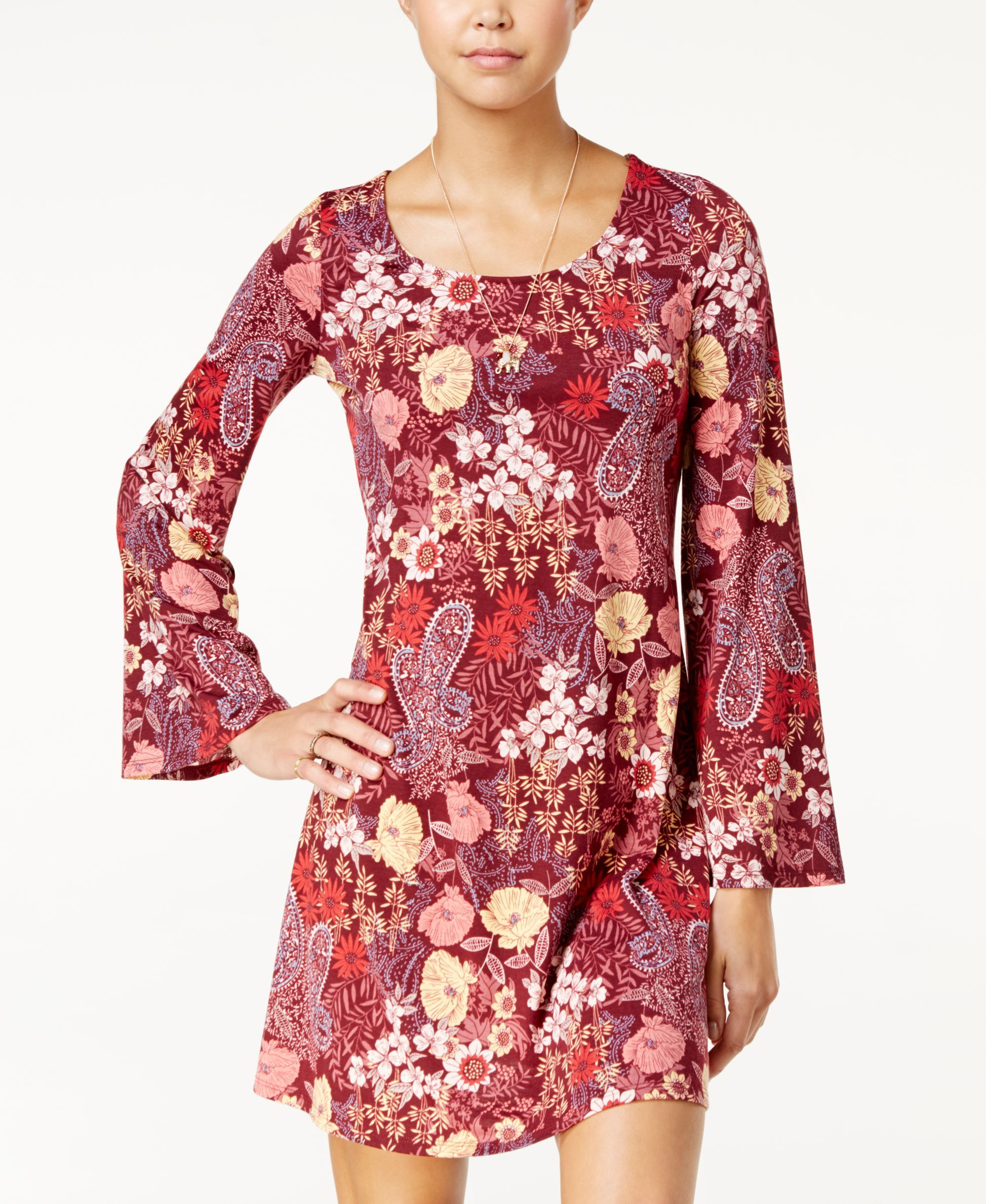 aba7bf053 American Rag Printed Bell-Sleeve Shift Dress, Only at Macy's | Products