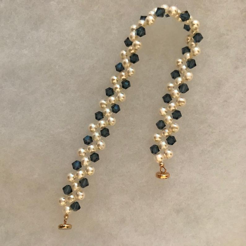 Pearl Bracelet Navy Blue Swarovski Crystals and Cream