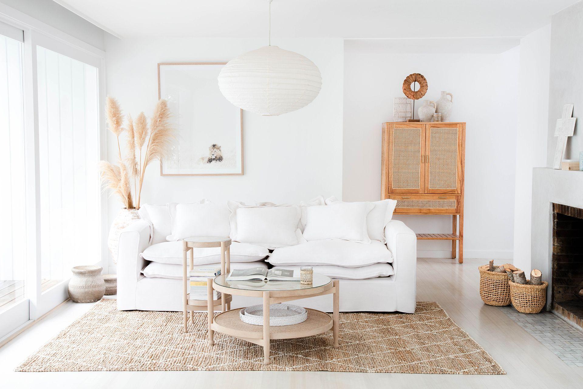 All White Coastal Living Room With Oz Design White Coastal