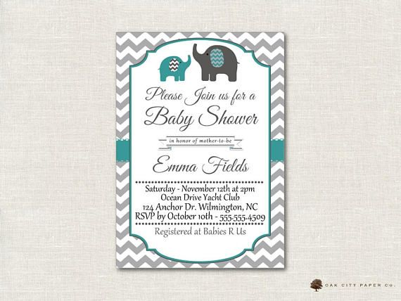 Teal and Gray Elephant Baby Shower Invitation, Baby Shower