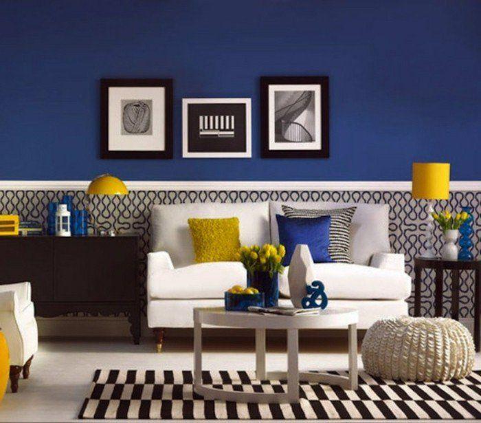 idée peinture salon fantastique, mur en bleu foncé, éléments déco en ...