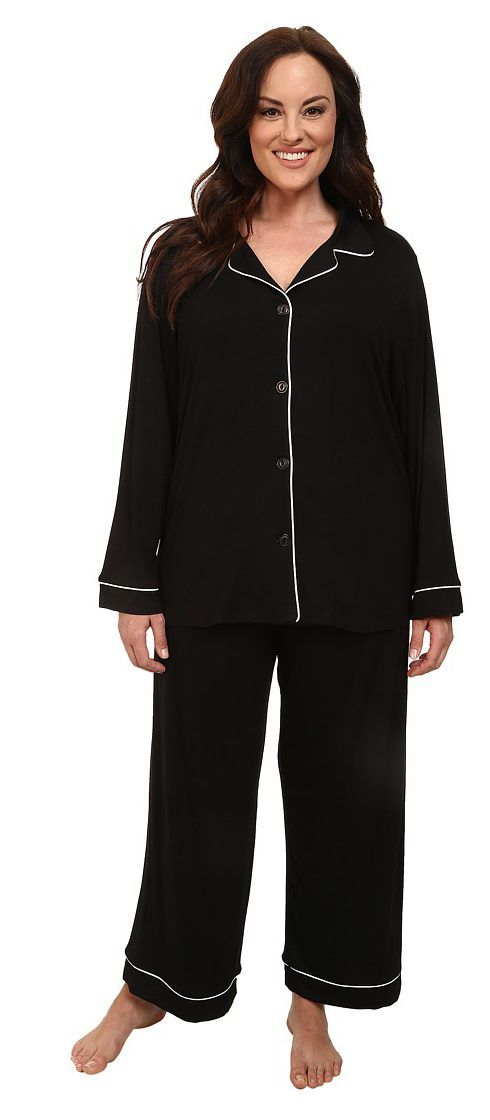 BedHead Plus Size Classic Stretch PJ (Black Solid) Women's Pajama Sets - BedHead, Plus Size Classic Stretch PJ, 1002-SPL-2409, Apparel Sets Sleepwear, Sleepwear, Sets, Apparel, Clothes Clothing, Gift, - Fashion Ideas To Inspire
