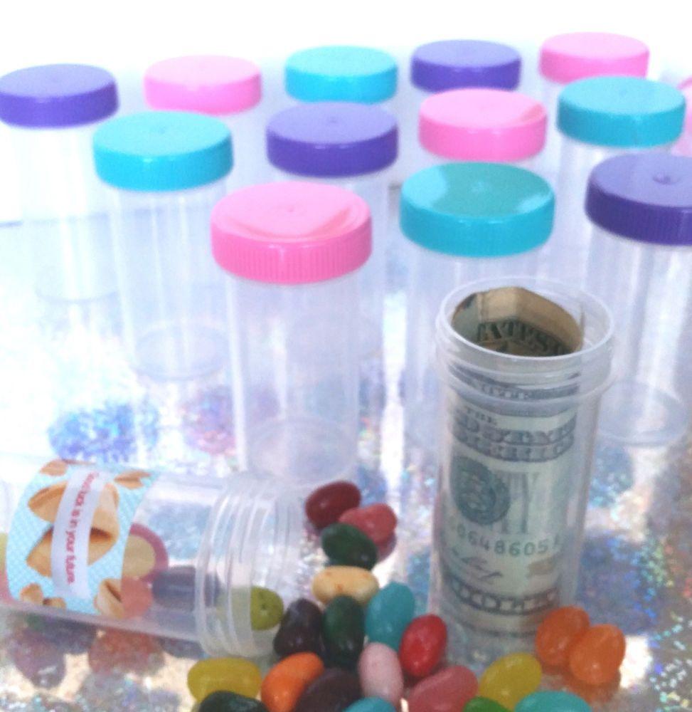 20 Plastic Pill Bottle Pink Purple Blue Caps Party Favors 1oz thin 3314 DecoJars