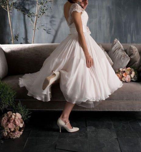 Lovely White Ivory Scoop Cap Sleeve Tea Length Lace Vintage Wedding Dresses Gown | eBay
