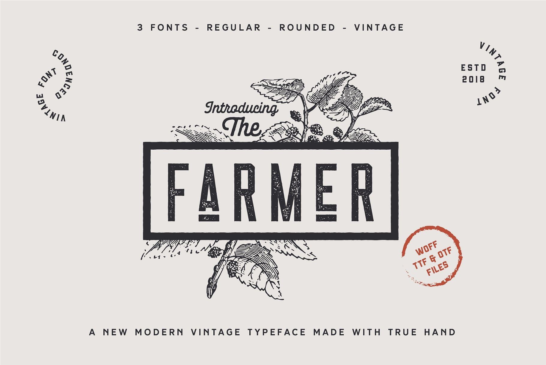 The Farmer Font Condensed Typeface Rustic Logo Design Vintage Logo Design Farm Logo Design