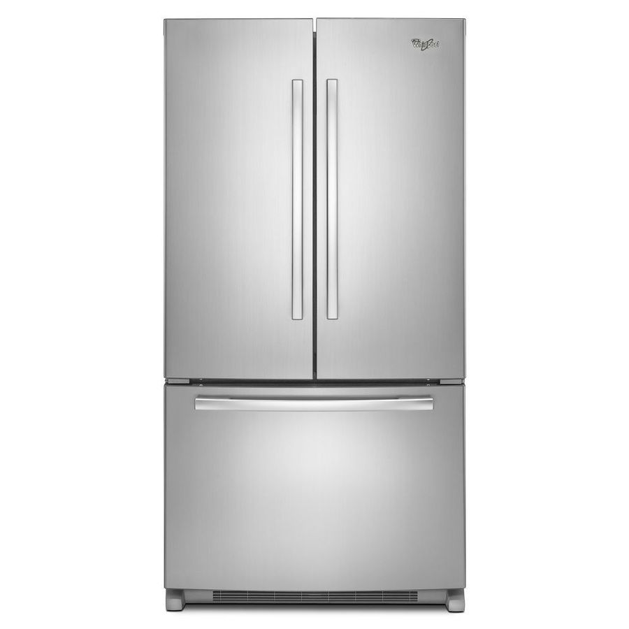Whirlpool 25 2 Cu Ft 3 Door French Refrigerator Single Ice Maker Monochromatic
