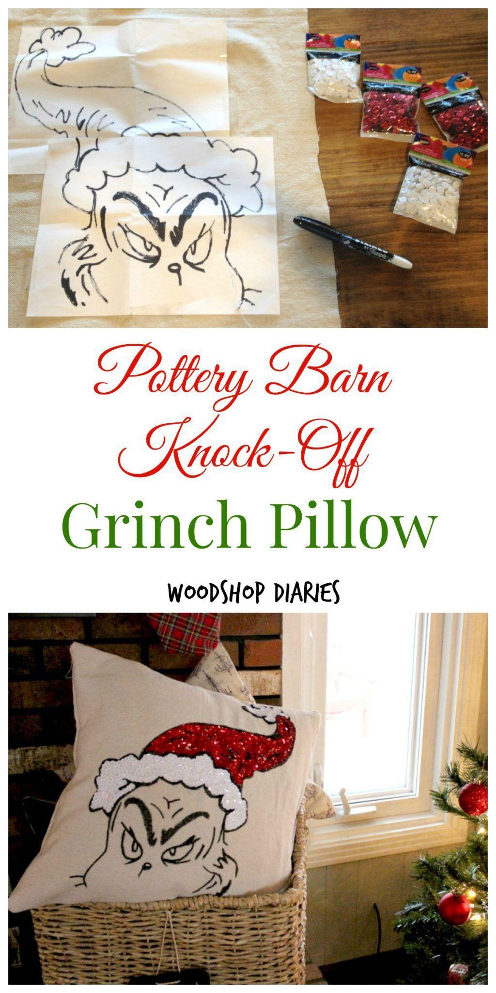 DIY Grinch Pillow--A Pottery Barn Knock-Off | Christmas | Pinterest ...