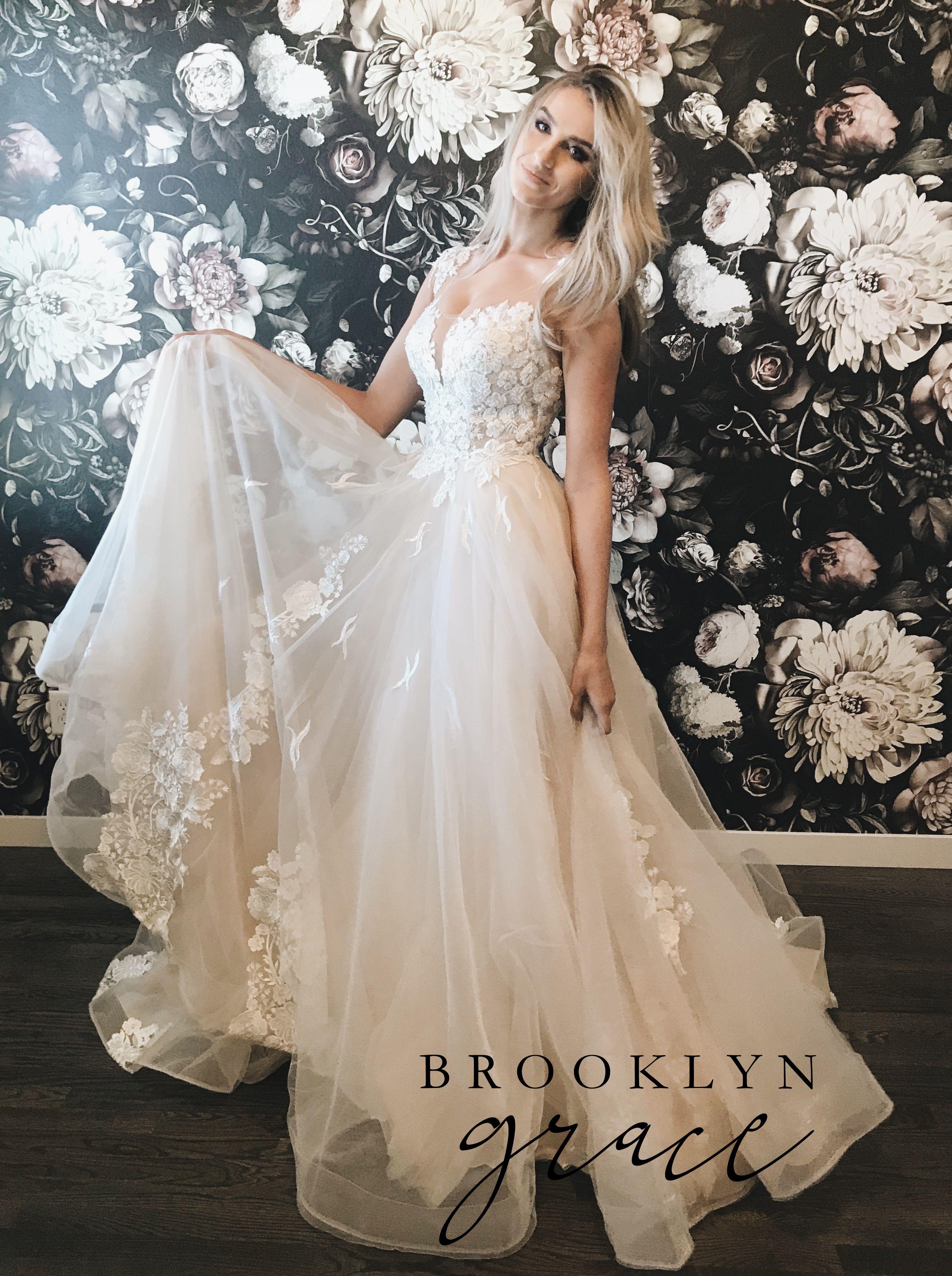 Floral Wedding Dress Couture Wedding Dress Brooklyn Grace Wedding Gown Wedding Gown A L Wedding Dresses Whimsical Aline Wedding Dress Sparkly Wedding Dress