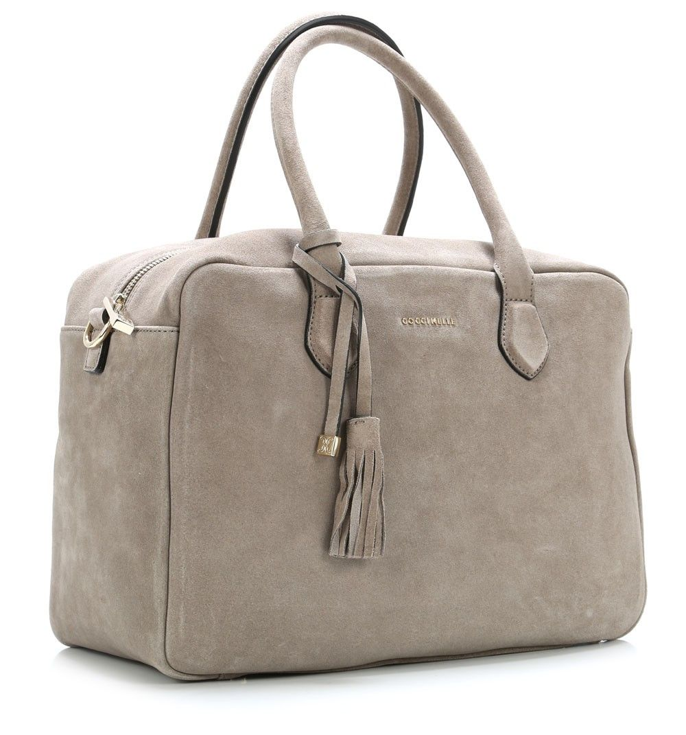 Coccinelle London Suede Handbag Leather Grey 35 Cm Ta2180101 295 Designer Bags