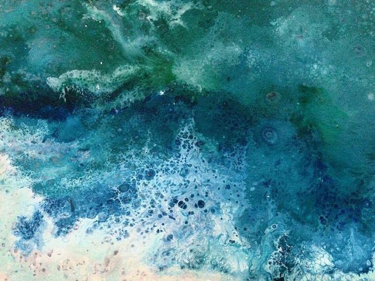 Energetic Large Scale Paintings Of Splashing Ocean Waves Water