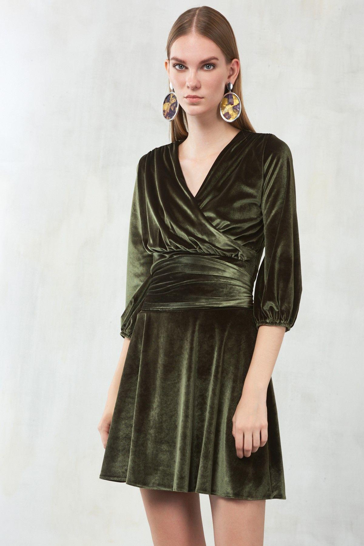 Milla By Trendyol Trendyolmilla Haki Kadife Kruvaze Yaka Belden Baglama Detayli Elbise Elbise The Dress Mutevazi Moda